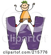 Royalty Free RF Clipart Illustration Of A Childs Sketch Of A Boy On Top Of A Capital Letter W