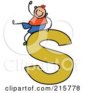 Royalty Free RF Clipart Illustration Of A Childs Sketch Of A Boy On Top Of A Lowercase Letter S