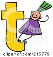 Royalty Free RF Clipart Illustration Of A Childs Sketch Of A Girl On Top Of A Lowercase Letter T
