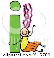 Royalty Free RF Clipart Illustration Of A Childs Sketch Of A Girl With A Lowercase Letter I