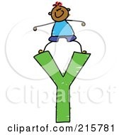 Royalty Free RF Clipart Illustration Of A Childs Sketch Of A Boy On Top Of A Capital Letter Y