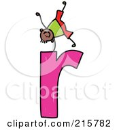 Royalty Free RF Clipart Illustration Of A Childs Sketch Of A Boy On Top Of A Lowercase Letter R