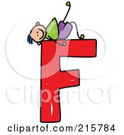 Royalty Free RF Clipart Illustration Of A Childs Sketch Of A Boy On Top Of A Capital Letter F