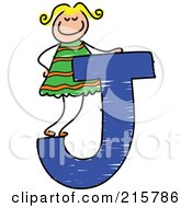Royalty Free RF Clipart Illustration Of A Childs Sketch Of A Girl On A Capital Letter J