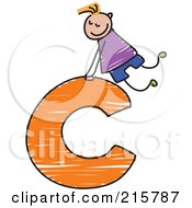 Royalty Free RF Clipart Illustration Of A Childs Sketch Of A Boy On Top Of A Lowercase Letter C