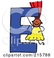 Royalty Free RF Clipart Illustration Of A Childs Sketch Of A Girl On Top Of A Capital Letter E