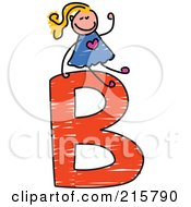 Royalty Free RF Clipart Illustration Of A Childs Sketch Of A Girl On Top Of A Capital Letter B