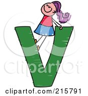 Royalty Free RF Clipart Illustration Of A Childs Sketch Of A Girl On Top Of A Capital Letter V