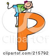 Royalty Free RF Clipart Illustration Of A Childs Sketch Of A Boy On Top Of A Capital Letter P