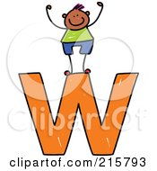 Royalty Free RF Clipart Illustration Of A Childs Sketch Of A Boy On Top Of A Lowercase Letter W