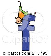 Royalty Free RF Clipart Illustration Of A Childs Sketch Of A Boy On Top Of A Lowercase Letter F