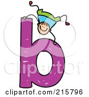 Royalty Free RF Clipart Illustration Of A Childs Sketch Of A Boy On A Lowercase Letter B
