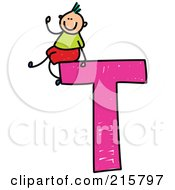 Royalty Free RF Clipart Illustration Of A Childs Sketch Of A Boy On Top Of A Capital Letter T