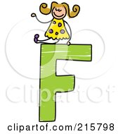 Royalty Free RF Clipart Illustration Of A Childs Sketch Of A Girl On Top Of A Capital Letter F