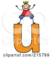 Royalty Free RF Clipart Illustration Of A Childs Sketch Of A Boy On Top Of A Lowercase Letter U