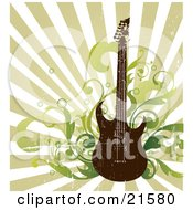 Clipart Illustration Of An Electric Guitar With Music Notes And Radio Speakers Over A Grunge Background by OnFocusMedia #COLLC21580-0049
