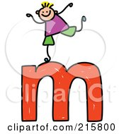 Royalty Free RF Clipart Illustration Of A Childs Sketch Of A Boy On Top Of A Lowercase Letter M