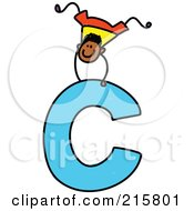 Royalty Free RF Clipart Illustration Of A Childs Sketch Of A Boy On Top Of A Capital Letter C
