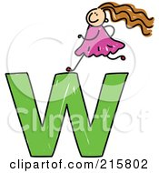 Royalty Free RF Clipart Illustration Of A Childs Sketch Of A Girl On Top Of A Lowercase Letter W