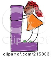 Royalty Free RF Clipart Illustration Of A Childs Sketch Of A Girl On A Capital Letter L