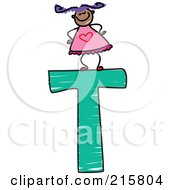 Royalty Free RF Clipart Illustration Of A Childs Sketch Of A Girl On Top Of A Capital Letter T