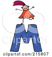 Royalty Free RF Clipart Illustration Of A Childs Sketch Of A Girl On Top Of A Capital Letter M