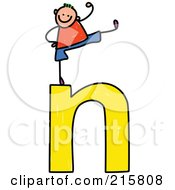 Royalty Free RF Clipart Illustration Of A Childs Sketch Of A Girl On Top Of A Lowercase Letter N