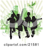 Clipart Illustration Of A Four Silhouetted Guys In A Band Rocking Out And Playing A Guitar Against A Green Background by OnFocusMedia