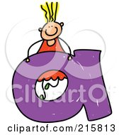 Royalty Free RF Clipart Illustration Of A Childs Sketch Of A Girl Behind A Lowercase Letter A