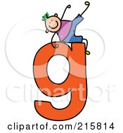 Royalty Free RF Clipart Illustration Of A Childs Sketch Of A Boy On Top Of A Lowercase Letter G