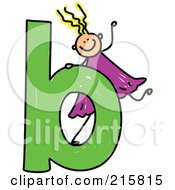 Royalty Free RF Clipart Illustration Of A Childs Sketch Of A Girl Behind A Lowercase Letter B