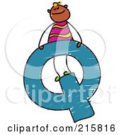 Royalty Free RF Clipart Illustration Of A Childs Sketch Of A Boy On Top Of A Capital Letter Q