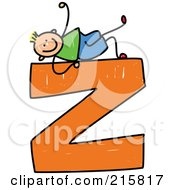 Royalty Free RF Clipart Illustration Of A Childs Sketch Of A Boy On A Lowercase Letter Z
