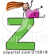 Royalty Free RF Clipart Illustration Of A Childs Sketch Of A Girl On Top Of A Capital Letter Z