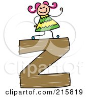 Royalty Free RF Clipart Illustration Of A Childs Sketch Of A Girl On Top Of A Lowercase Letter Z