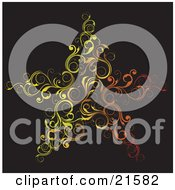 Clipart Illustration Of Elegant Red Orange And Yellow Scrolled Vines Forming The Shape Of A Star Over A Black Background by OnFocusMedia