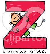 Childs Sketch Of A Boy On A Capital Letter Z