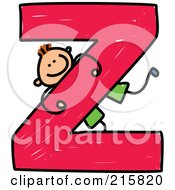 Royalty Free RF Clipart Illustration Of A Childs Sketch Of A Boy On A Capital Letter Z by Prawny
