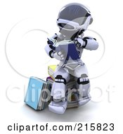Royalty Free RF Clipart Illustration Of A 3d Robot Sitting And Reading by KJ Pargeter