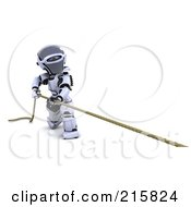 Royalty Free RF Clipart Illustration Of A 3d Robot Pulling A Rope
