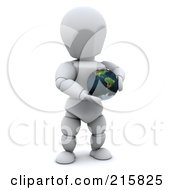 3d White Character Holding A Small Globe