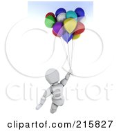 Royalty Free RF Clipart Illustration Of A 3d White Character Flying Away With Balloons
