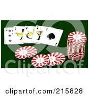 Royalty Free RF Clipart Illustration Of 3d Poker Chips And Cards On Green