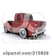 Royalty Free RF Clipart Illustration Of A 3d Red Vintage Pickup Truck