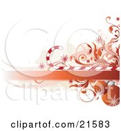 Clipart Illustration Of Orange Red Christmas Baubles With Snowflake Designs Hanging Under A Blank Banner With Vines And Candycanes by OnFocusMedia