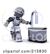 Royalty Free RF Clipart Illustration Of A 3d Robot By An Open Padlock
