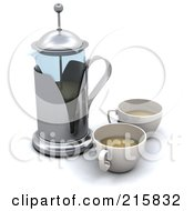 Royalty Free RF Clipart Illustration Of A 3d Coffee Press With Two Cups