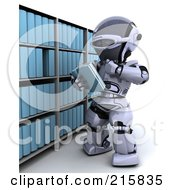 Royalty Free RF Clipart Illustration Of A 3d Robot Reading A Book From A Shelf