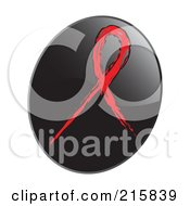 Royalty Free RF Clipart Illustration Of A Red Awareness Ribbon On A Shiny Black App Icon Button