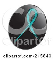 Royalty Free RF Clipart Illustration Of A Teal Awareness Ribbon On A Shiny Black App Icon Button